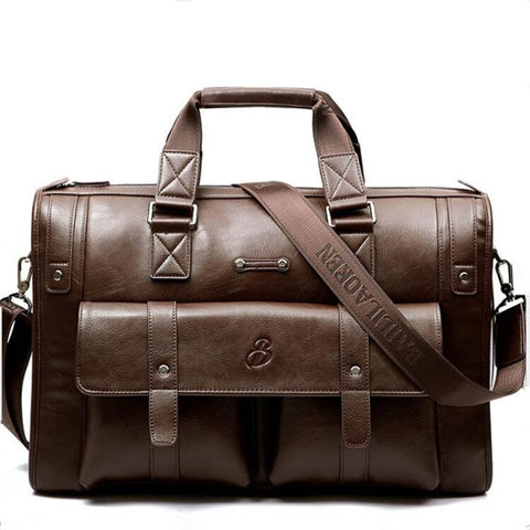 New Luxury Genuine Leather Business Men's Briefcase Shoulder Bag Men Messenger Bag Travel Computer Bag - kdb solution