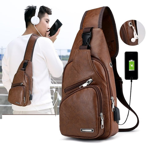 Mens leather crossbody bag with usb portl - kdb solution