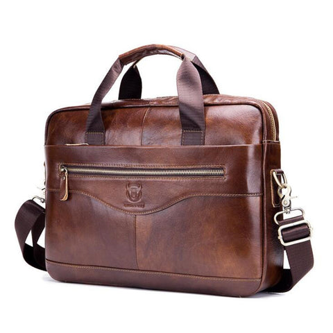 Genuine Leather Men's Briefcase Vintage Business Computer Bag Fashion Messenger Bags - kdb solution