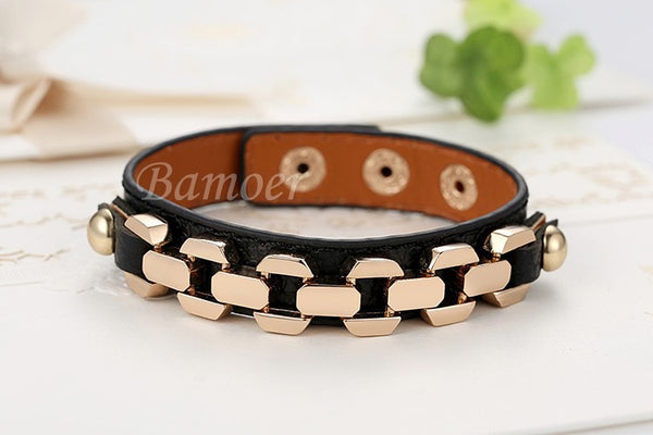 Gold Plated Leather Chain Bracelet