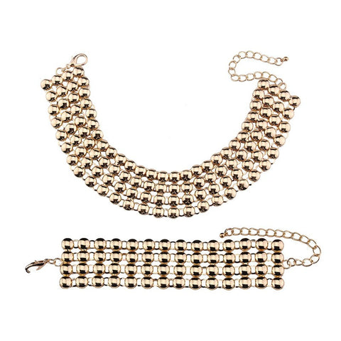 Luxury Choker Necklace and Bracelet Combo