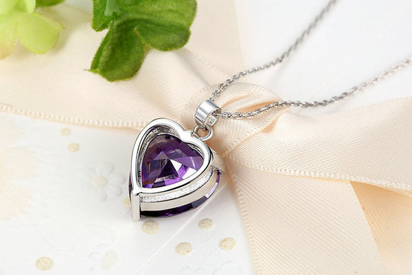 Purple Heart Platinum Plated Necklace