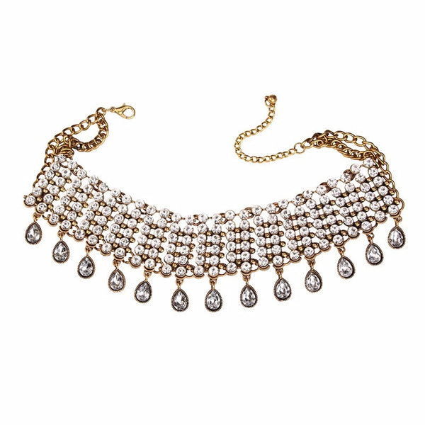 Wide Collar Multi Row Choker Necklace