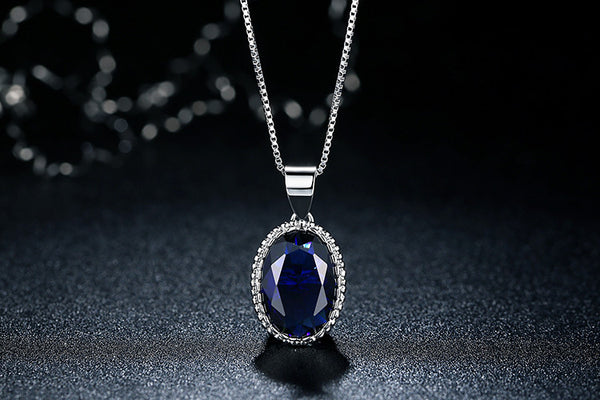 Platinum Plated Blue Stone Necklace