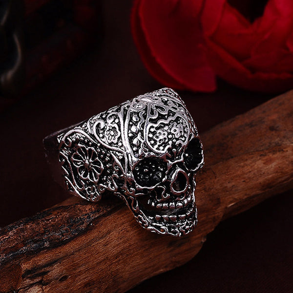 Punk Style Flower Skull Ring