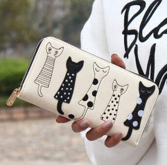 """Cats Are Friends"" Leather Wristlet"