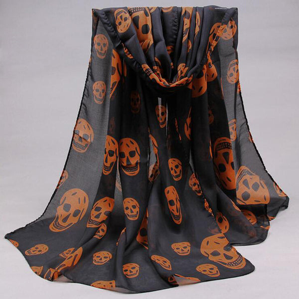 Beach Long Shawl Fashion Skull Print