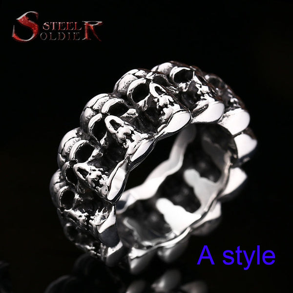 punk cycle skull ring
