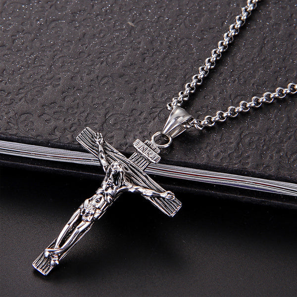 Vintage Cross INRI Crucifix Necklace