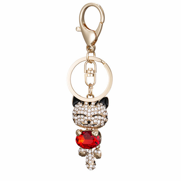 Crystal Rhinestone Metal Cat Keychain