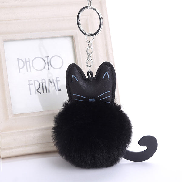 Adorable Kitty Pompom Keychain