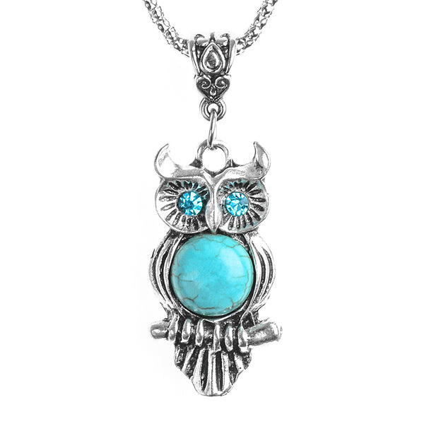Stone Necklace Owl Pendant Chain