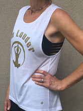 Om Louder - Muscle Tank - White/Gold