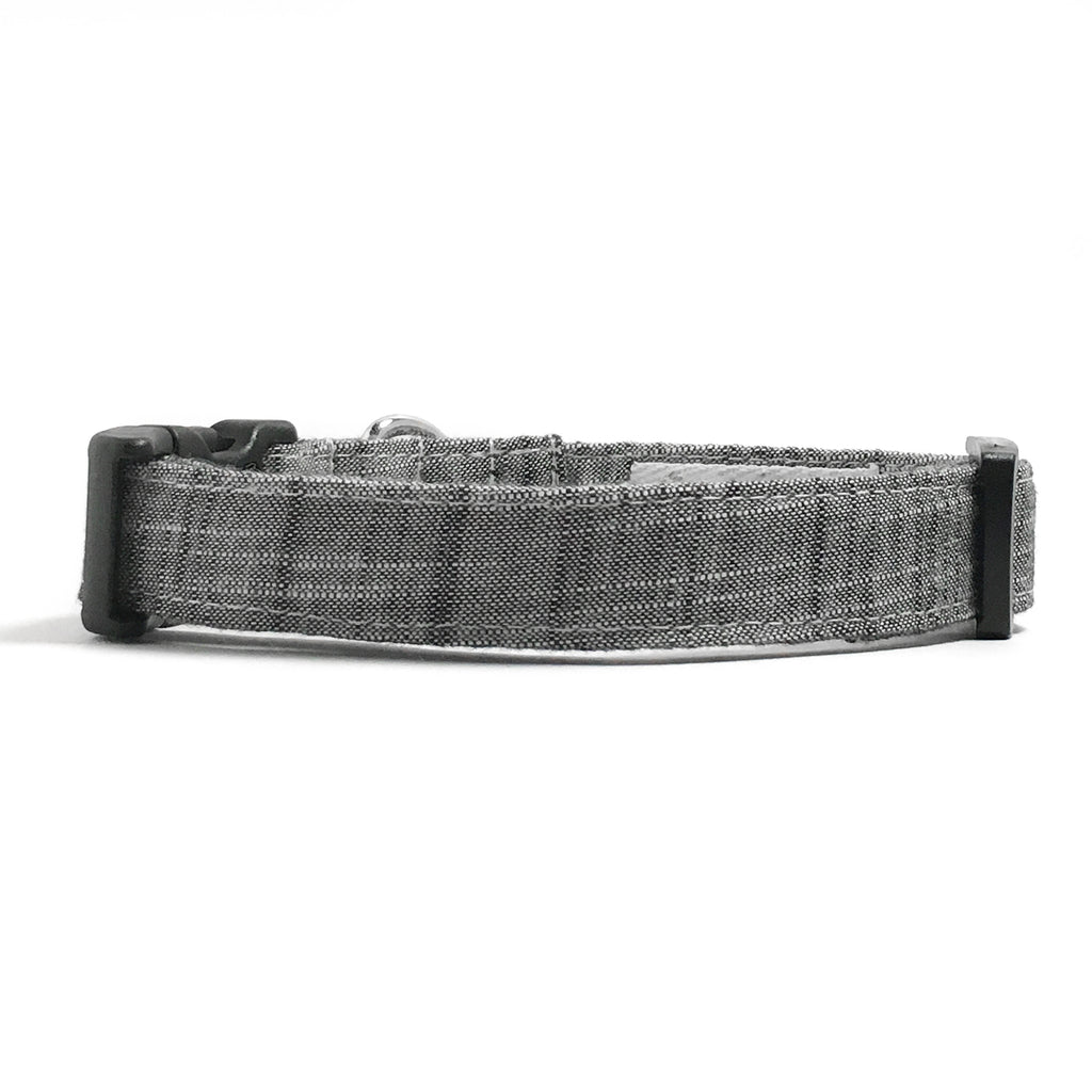 Black Chambray Dog Collar