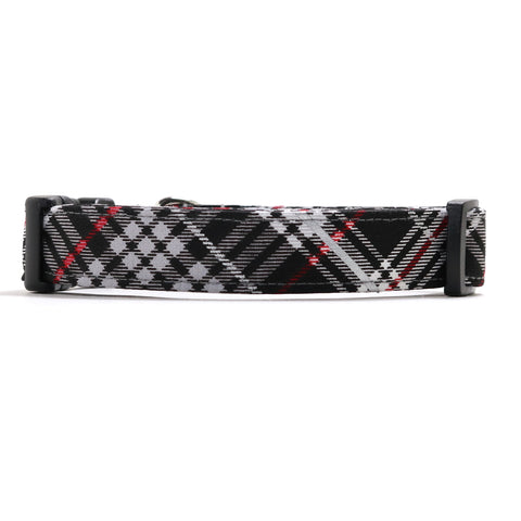 Black, Silver and Red Plaid Dog Collar