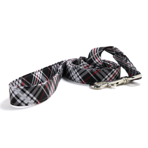 Black, Silver and Red Plaid Dog Leash
