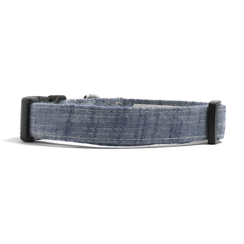 Blue Chambray Dog Collar