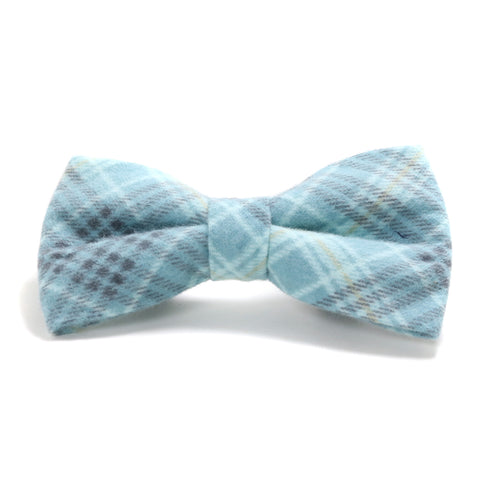 Blue and Gray Plaid Dog Bow Tie