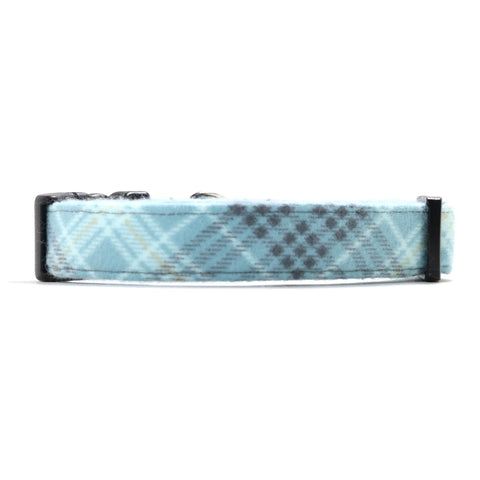 Blue and Gray Plaid Dog Collar