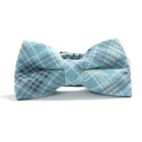Blue and Gray Plaid Dog Collar and Bow Tie Set