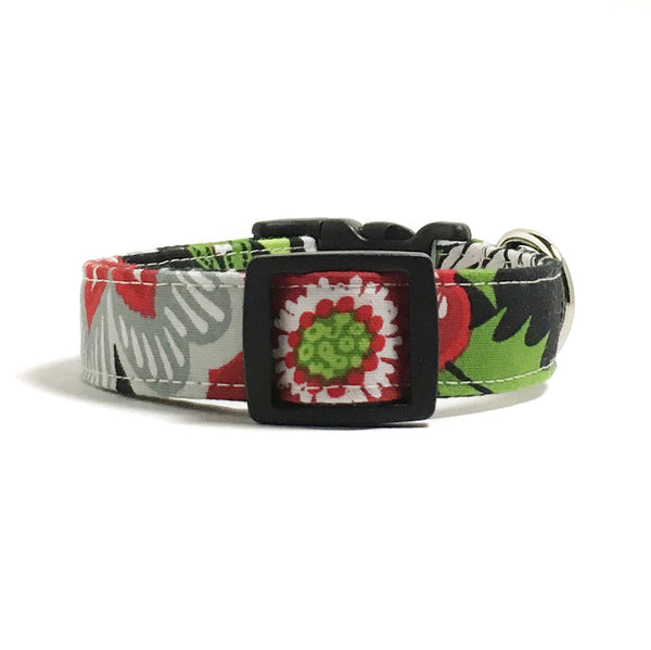 Modern Christmas Flowers Dog Collar