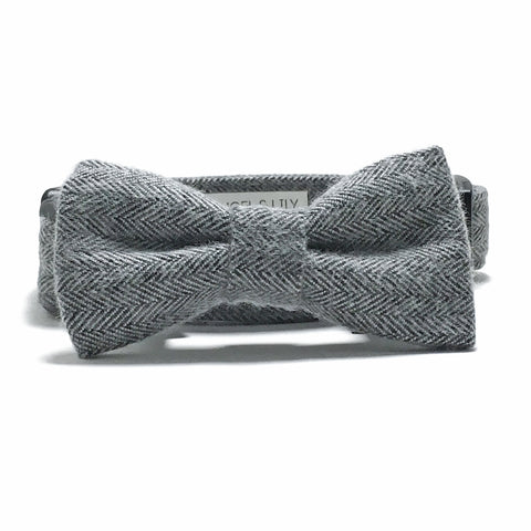 Gray Herringbone Dog Collar and Bow Tie Set
