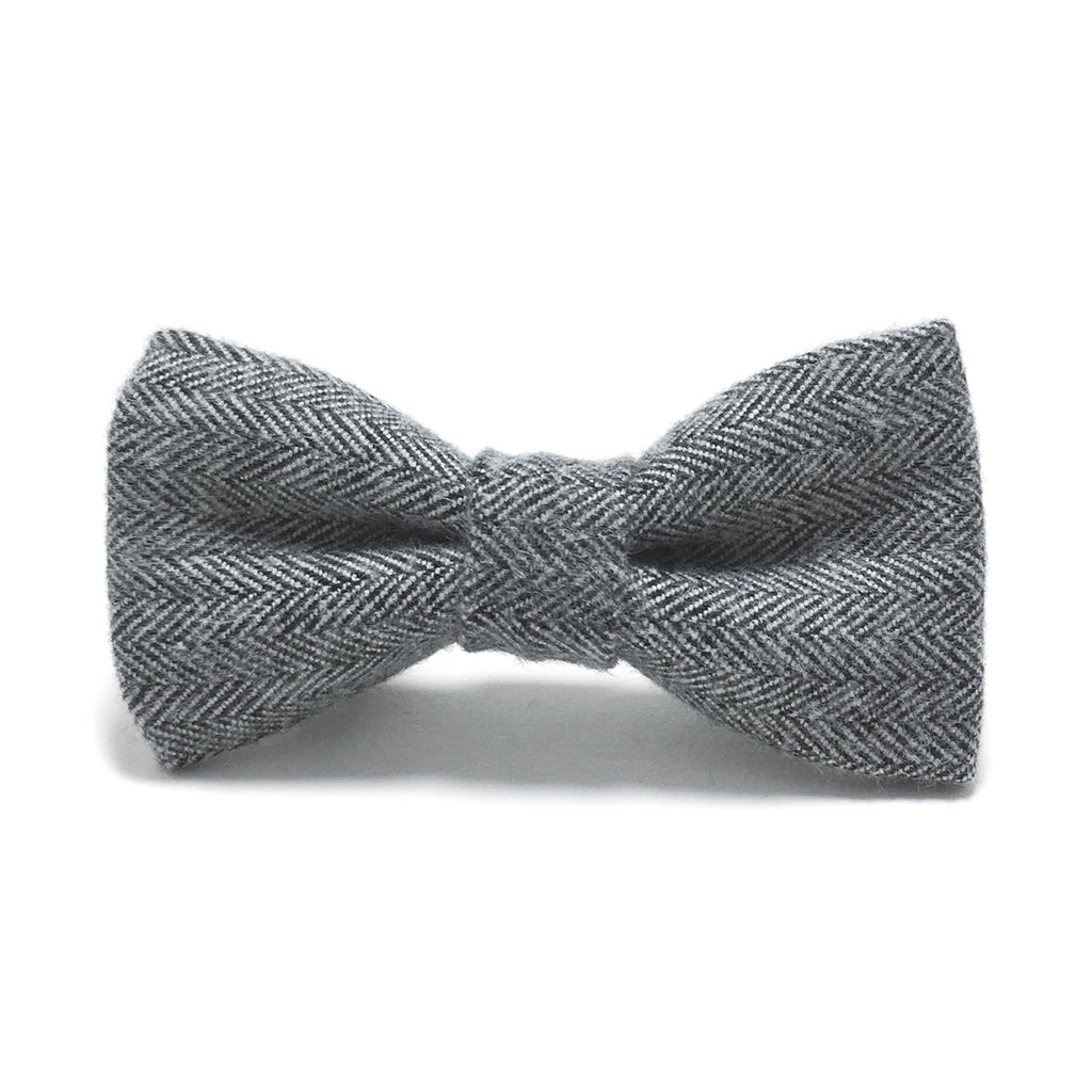 Gray Herringbone Dog Bow Tie