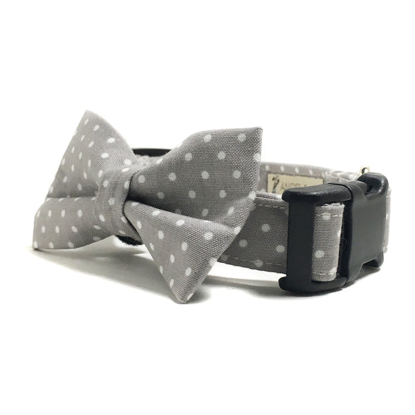 Gray and White Polka Dots Dog Collar and Bow Tie Set