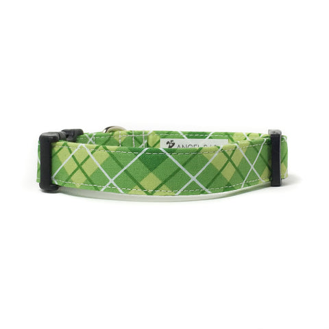 Green and White Plaid Dog Collar