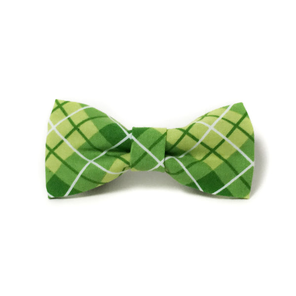 Green and White Plaid Dog Bow Tie