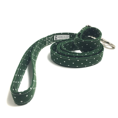 Hunter Green and White Polka Dots Dog Leash