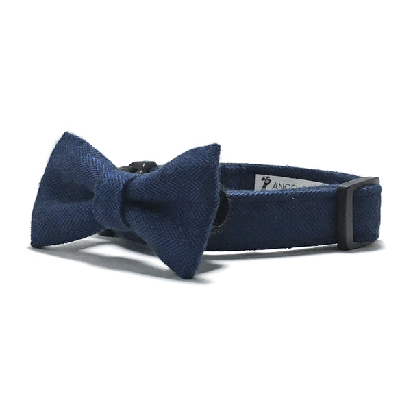 Navy Blue Herringbone Dog Collar and Bow Tie Set