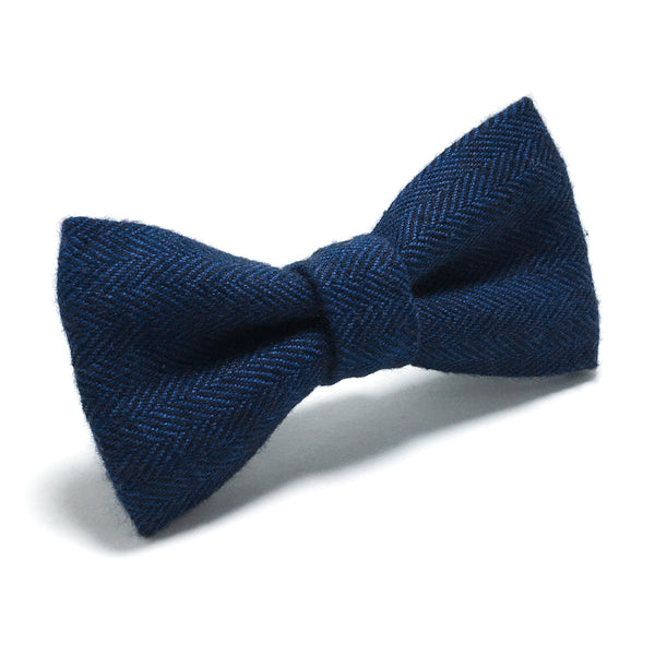 Navy Blue Herringbone Dog Bow Tie