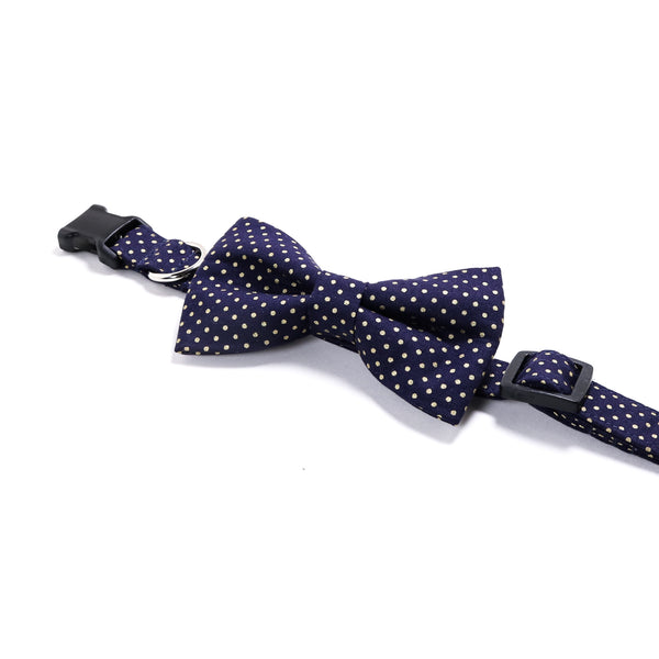 Navy Blue and Gold Polka Dots Dog Collar and Bow Tie Set