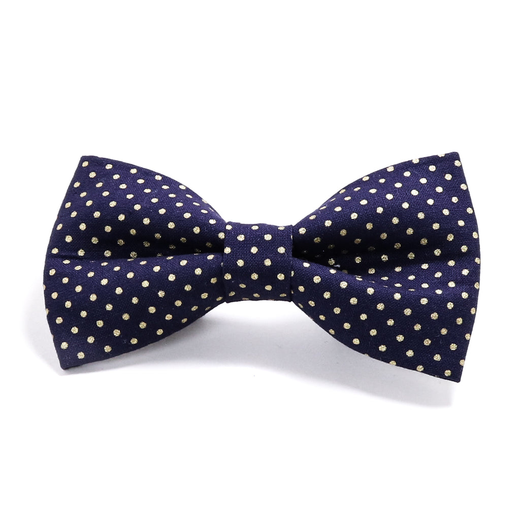 Navy Blue and Gold Polka Dots Dog Bow Tie