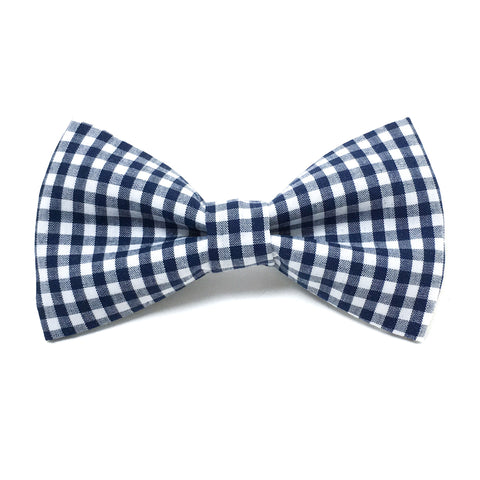 Navy Blue Gingham Dog Bow Tie