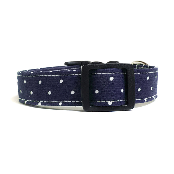 Navy Blue and White Polka Dots Dog Collar