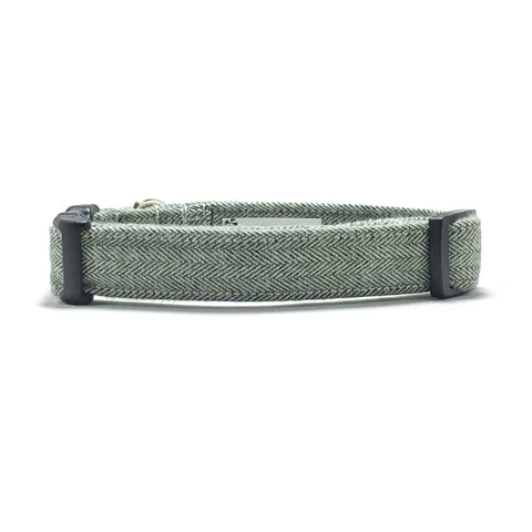 Olive Green Herringbone Dog Collar