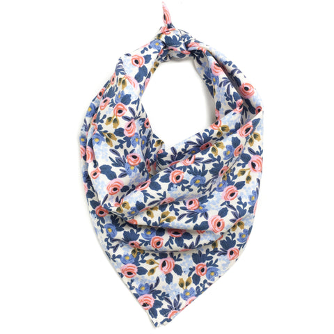 Blue and Pink Floral Dog Bandana