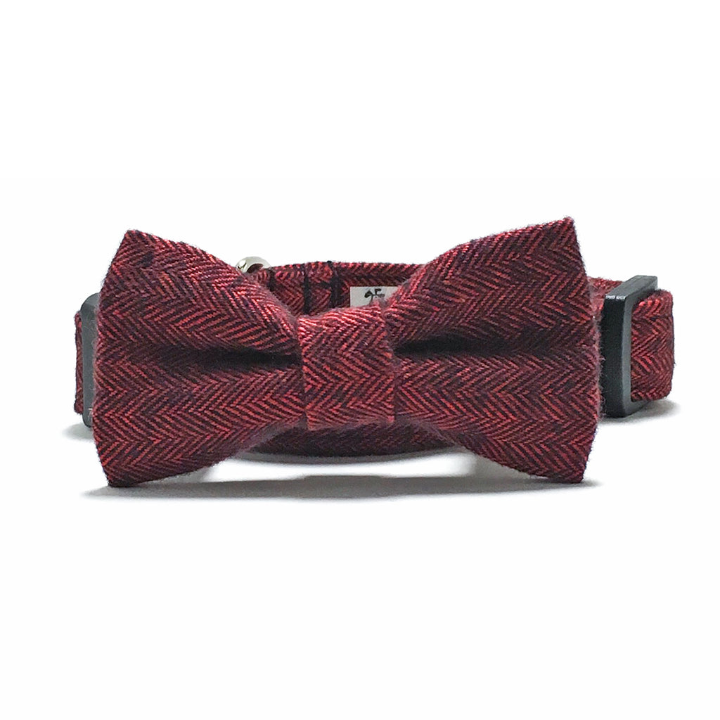 Red Herringbone Dog Collar and Bow Tie Set