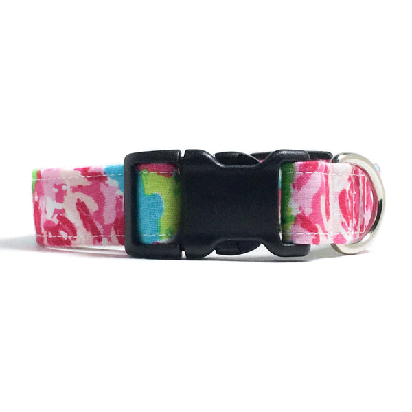 Preppy Pink Floral Dog Collar