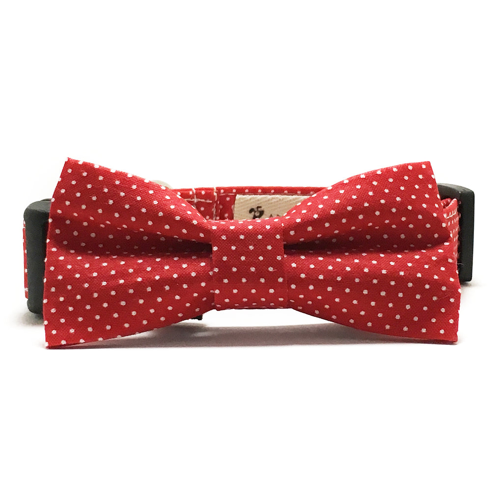 3ffe6a032472 Red and White Tiny Polka Dots Dog Collar and Bow Tie Set – Angel ...