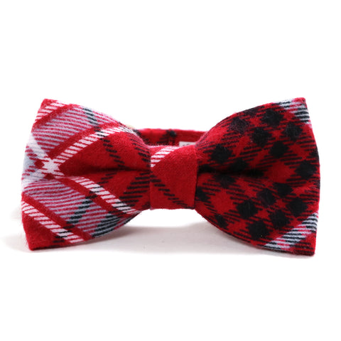 Red, Black and Gray Plaid Dog Collar and Bow Tie Set