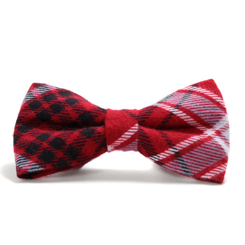 Red, Black and Gray Plaid Dog Bow Tie