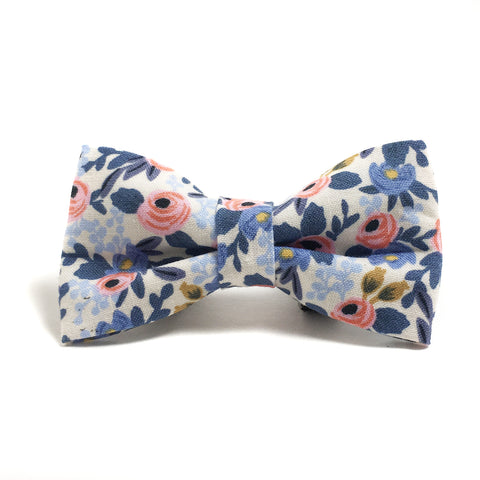 Pink and Blue Floral Dog Bow Tie