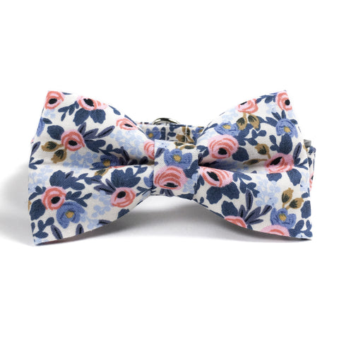 Pink and Blue Floral Dog Collar and Bow Tie Set