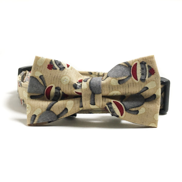 Sock Monkey Dog Collar and Bow Tie Set