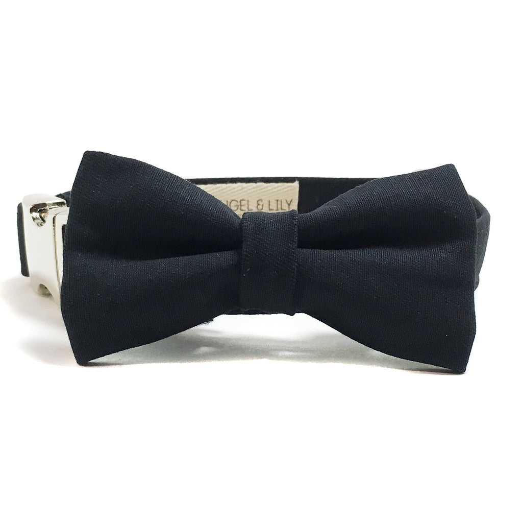Black Twill Dog Collar and Bow Tie Set