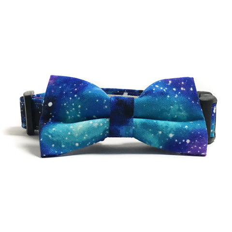 Blue and Purple Galaxy Dog Collar and Bow Tie Set