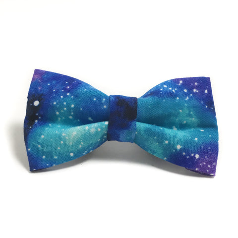 Blue and Purple Galaxy Dog Bow Tie